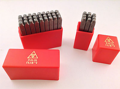 """36pc Steel Punch Alphabet Letter Number Tool 1/8"""" 3MM Leather craft Stamp Set"""