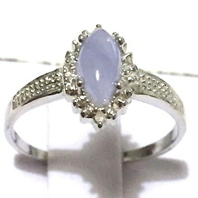 Marquise jade ring/ genuine Jade  & 2pcs genuine diamond sterling silver ring
