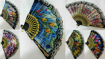 Spanish Fold Hand Held Fan Rave Party Wedding Prom Holiday x 1 BUY 2 GET 1 FREE