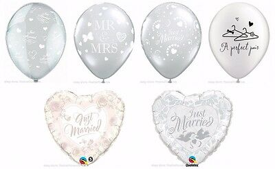 Just Married Perfect Pair Mr Mrs Wedding Hearts Decoration Latex Foil Balloons