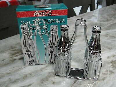 Coca Cola Chrome Salt & Pepper Shakers With Caddy - Nib