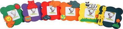 Children's set of 6 colourful wooden picture/photo frames with animals. Gift.New