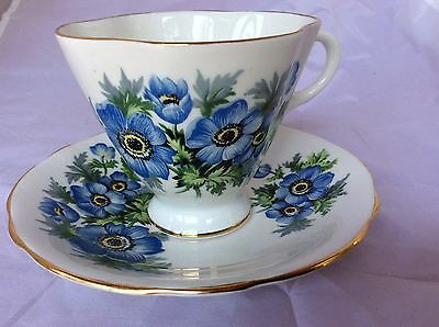 CLARENCE Teacup and Saucer 1950's, Blue Flowers