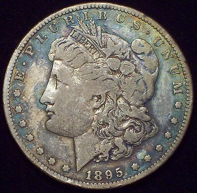 1895 S Morgan Dollar SILVER KEY DATE COIN Authentic F/VF Detailing Rainbow Coin
