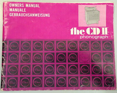 Jukebox Manual - Rowe The Cd Ii Phonograph Owners Manual - Not For Pinball