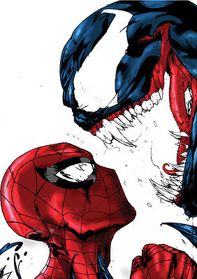 Sticker Autocollant Poster A4 Comics Marvel Spiderman. Amazing Spider Vs Venom.
