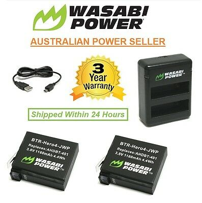 Wasabi Power Battery (1160mAh) x 2 with Dual USB Charger for GoPro HERO4 Go Pro