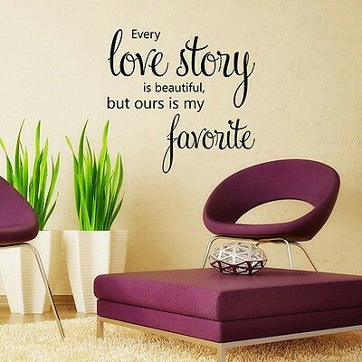 love Story Mural Quote Words Removable Wall Sticker Vinyl Decal Room Home Decor