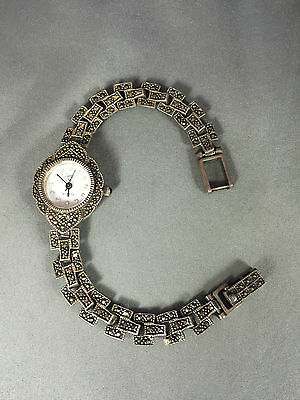 Sterling Silver Marcasite Watch with Japan Quartz Movement 001