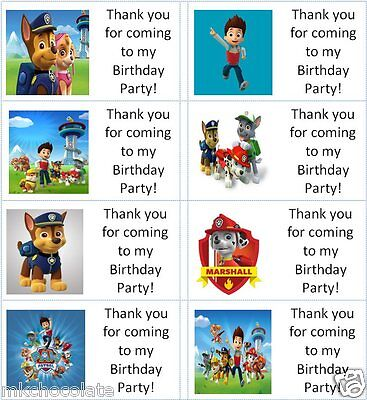 40 x Personalised Paw Patrol labels/stickers/birthday/party/sweet/bag