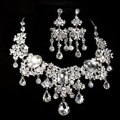 Wed Jewel Set Sparkling Crystal Diamante Flower Necklace Clip Earrings SETS