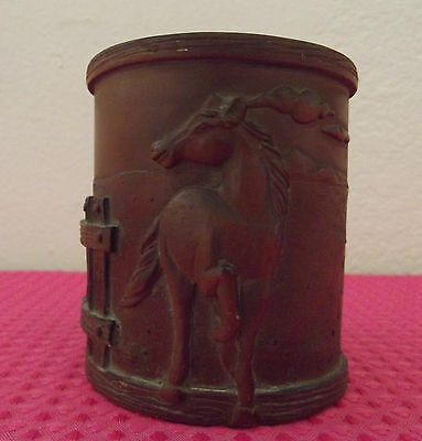 Linco 3D Relief Equine Western Horses Brown Resin Pencil Pen Cup......37J-24