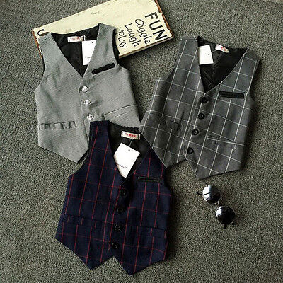 6972 New Baby Kids Boys Plaids Tops Children Outerwear Sleeveless Suit vest gift