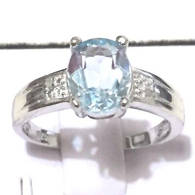 Genuine Gemstone Ring: 1.86 TCW Oval cut Blue Topaz in 925 Sterling Silver RING