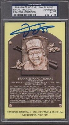 Psa/dna Frank Thomas Autographed Yellow Hall Of Fame Hof Plaque