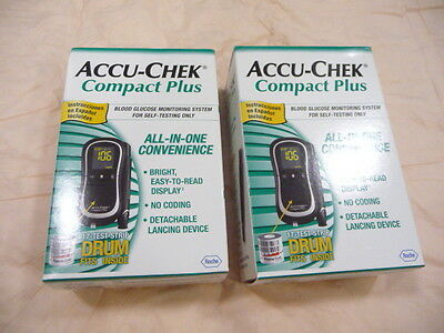 Accu Chek Compact Plus Diabetic Monitor Kits With Cases X2 Brand New