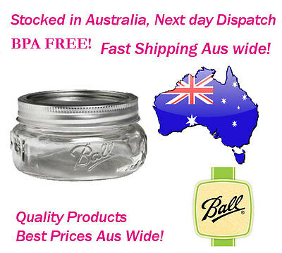 16 x Ball Mason Half Pint (240ml) Elite Collection Wide Mouth Jars and Lids