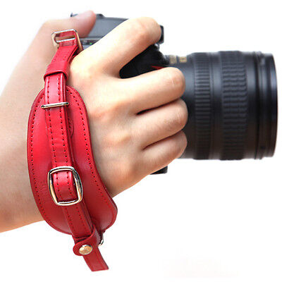 CIESTA DSLR SLR Camera Leather Hand Grip Strap (Red) w/ Dovetail Plate