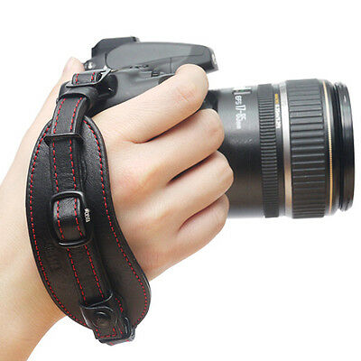CIESTA DSLR SLR Camera Leather Hand Grip Strap (Black/Red) w/ Dovetail Plate