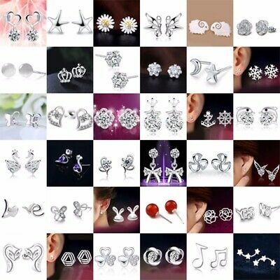 HOT Women 925 Sterling Silver Crystal Rhinestone Ear Stud Earrings Fashion New