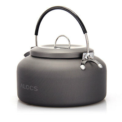 0.8L Outdoor Hiking Camping Survival Coffee Teapot Kettle Gray + Black