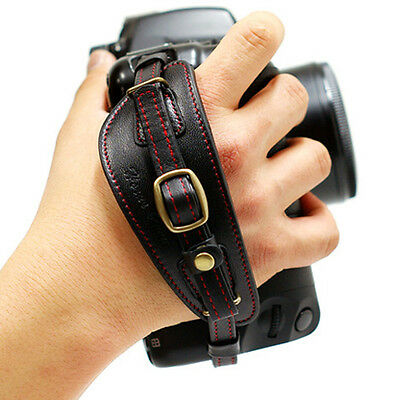 HORUSBENNU DSLR SLR Camera Leather Hand Grip Strap Black/Red w/ Dovetail Plate