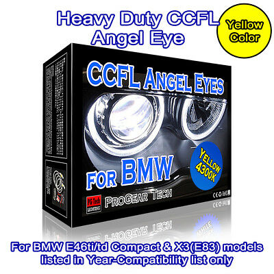 Heavy Duty 4300K OEM Yellow BMW CCFL Angel Eyes Rings E46 Compact ti td E83 X3