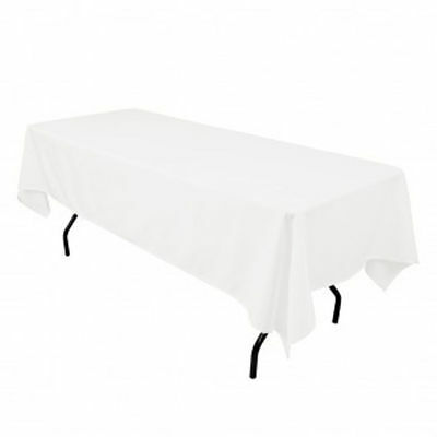 Lot Of 10 White 60 X 102  Polyester Rectangular Wedding Tablecloth Table Cloth