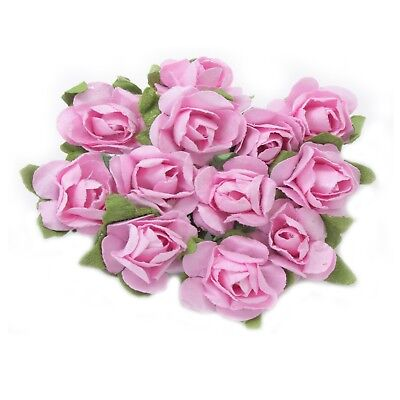 12 x 15mm Paper Rose Flowers – Pink