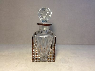 Beautiful Antique Amber Cut To Clear Cut Glass Cologne
