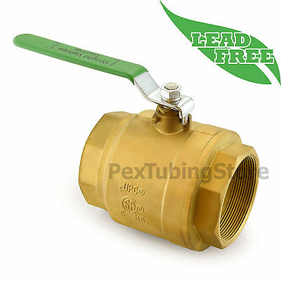 "4"" NPT Threaded Lead-Free Brass Ball Valve, Full Port, 400psi WOG"