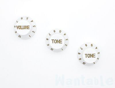 3 White Electric Guitar Control Knobs Volume Tone Fits Strat Stratocaster Style