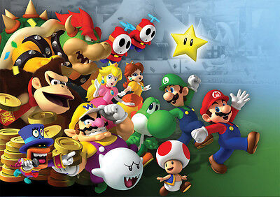 Sticker Autocollant Poster A4 Jeux Video Nintendo. Multi Persos Mario Kong Toad