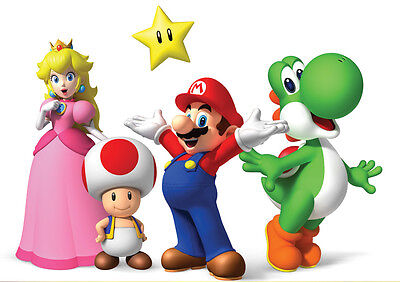 Sticker Autocollant Poster A4 Jeux Video Nintendo. Multi Persos Mario Yoshi Toad