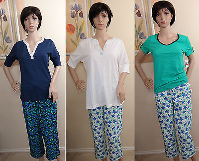 NAUTICA white or blue floral lounge sleep cropped pants & solid T-shirt,XS,S,XL