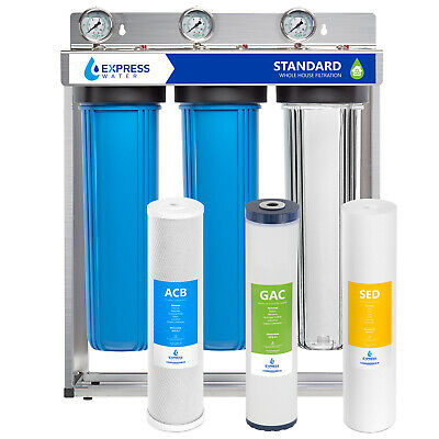 Whole House Water Filter 3 Stage Home Filtration System W Gauges