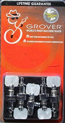 Grover Geared Banjo Pegs, Set of 5 in Chrome with Square Pearloid Buttons