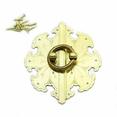 Antique Style Octagonal Decorative Cabinet Face Plate - Solid Brass Hasp -LK010