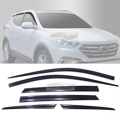 Chrome Window Visor Rain Sun Guards 6P D631 For HYUNDAI 2016-2018 Santa Fe DM