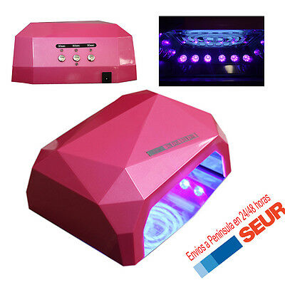 Lampara LED CCFL Secador  UV 36W para uñas Gel Ultravioleta ROSA Diamante.