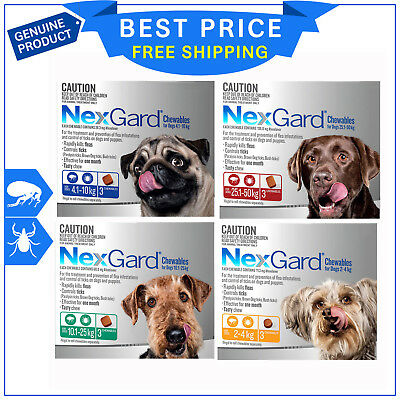 Nexgard Chewables for Dogs 3 Chews all sizes Flea & Tick Treatment by Merial