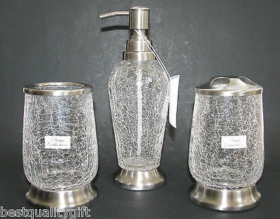 Hotel Collection 3 Pc Set Clear Cracked Glass+Silver Soap,lotion Dispenser+2More