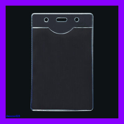 5 PCs Clear Plastic Vertical Name Tag ID Card Holder ***AUSSIE SELLER***
