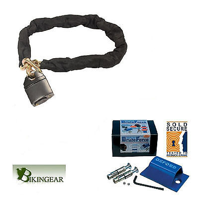 HEAVY DUTY STRONG SECURITY CHAIN LOCK 1.8m&OXFORD SOLD SECURE GROUND/WALL ANCHOR