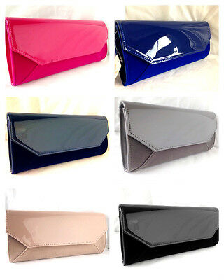 New Faux Patent Leather & Suede Nude Fuschia  Navy Royal Evening Day Clutch Bag
