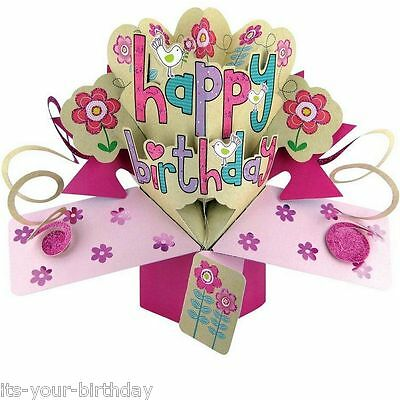 Second Nature Keepsake 3D Pop Up Card Happy Birthday Pink Free Postage
