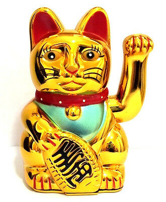 "LARGE Feng Shui GOLD BECKONING CAT Wealth Lucky Waving Kitty Maneki Neko 7"" Tall"
