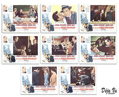 The Man Who Knew Too Much Original Lobby Card Set of 8 - Hitchcock - 1963 - VF