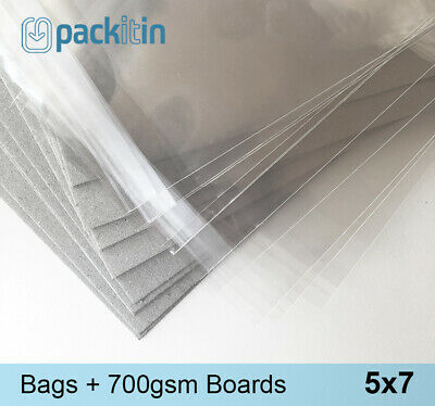 5x7 (50 pk) Clear Cello Reseal Bags Sleeves + Matching Backing Boards (700gsm)