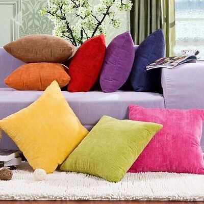 Solid Color Fashion Corduroy Sofa Home Decor Pillow Case Cover Square Cushion